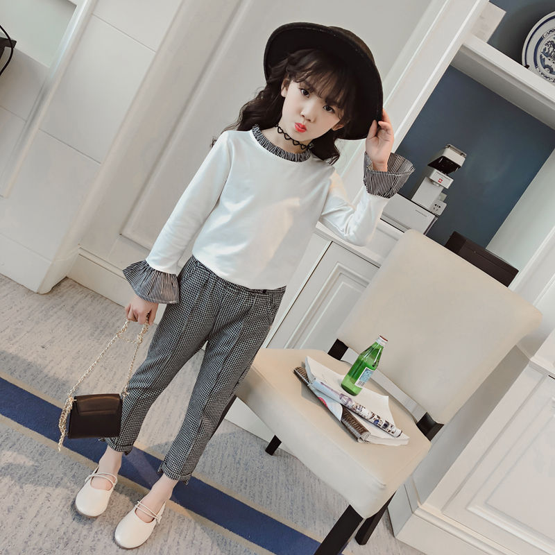 Kids Spring 2018 New Big Girls Sports Suit Girls Striped T-shirts + Pants Casual Long-sleeved Clothes For Girls Conjunto Infanti