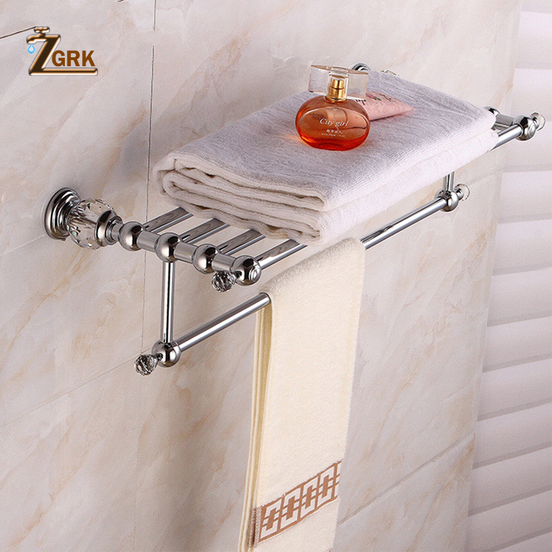 ZGRK Bathroom Towel Rack Wall-Mounted Solid Brass Crystal Towel Rack Bath Towel Holder Double Towel Rails holder aluminum wall mounted square antique brass bath towel rack active bathroom towel holder double towel shelf bathroom accessories