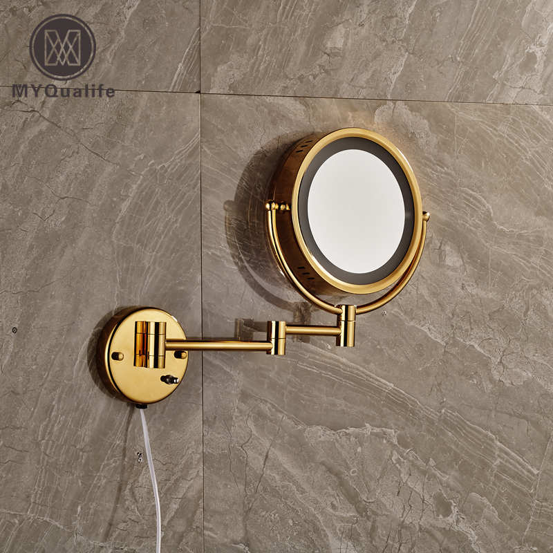 Luxury Golden Wall Mounted Make Up Mirror for Women Double Side with LightLuxury Golden Wall Mounted Make Up Mirror for Women Double Side with Light
