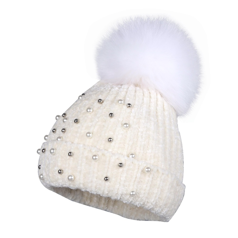 new design women chenille winter hat FOX pompom   beanies   real animal fur pom pom crystal floral luxury winter hats for woman
