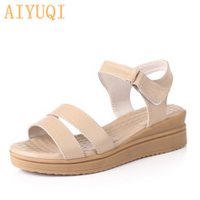 AIYUQI Summer sandals women 2019 new Stylish and durable flat women sandals big size 41 42 43 rome brand women's shoes stylish women s sandals with flowers and black colour design