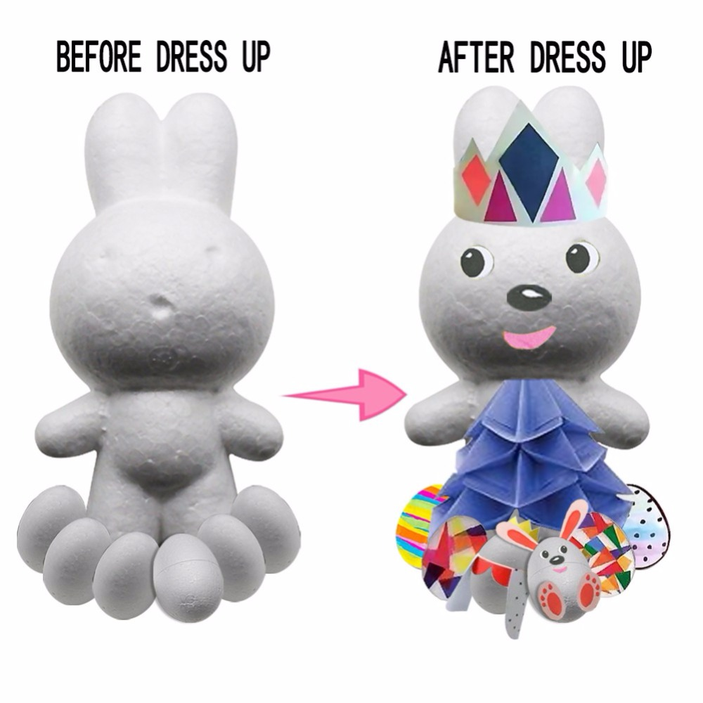 Party-Decoration-Supply Modeling-Projects Craft Handmade Holiday Easter-Foam Rabbit-And-Eggs