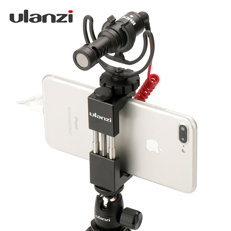 Ulanzi ტელეფონი Tripod Mount Adapter with Cold Shoe Handle Rig ტელეფონის მფლობელი Mount Tripod Clip for iPhone X 8 7 Plus Samsung S8 S7