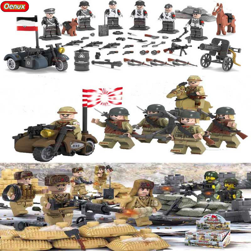 Oenux World War 2 Series Military Building Block Japanese Chinese Soldier Figures With Weapons Model Brick MOC Toy For Kids Gift 2017 wholesale new army block educational military war block kids tank helicopter model building blocks toy best gift for kids