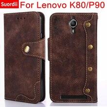 For Lenovo K80 K80M P90 5.5Inch Card Holder Cover Book Style Leather Flip Case Skin For Lenovo P90 K80 Wallet Back Shell Cover