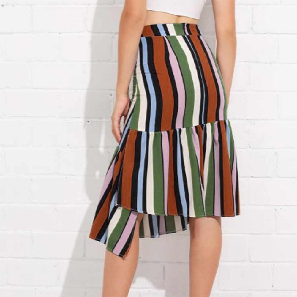 קיץ ואביב חצאית נשים גבירותיי פסים הדפסה סדיר קפלים לפרוע ארוך חצאיות לנקבה Rokjes גבירות