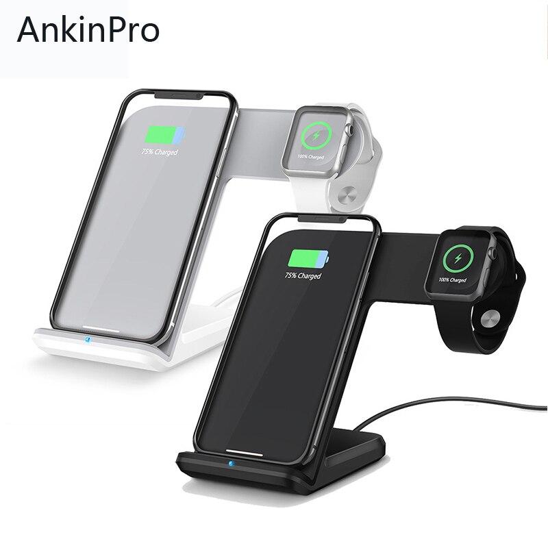 AnkinPro QI Chargeur Rapide Sans Fil De Charge pour Montre Apple iPhone 8 X Samsung Téléphone Intelligent Support De Charge Rapide 2.0 3.0