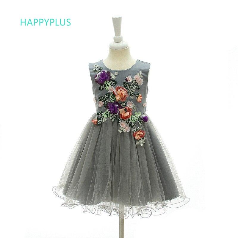 2e52f05ba2567 HAPPYPLUS Gris Tulle Fleur Fille Robe Princesse Floral Robes pour Filles 3/4/5/6/7/8/9/10  Ans, d'été Enfants Vêtements Filles dans de sur AliExpress.com ...