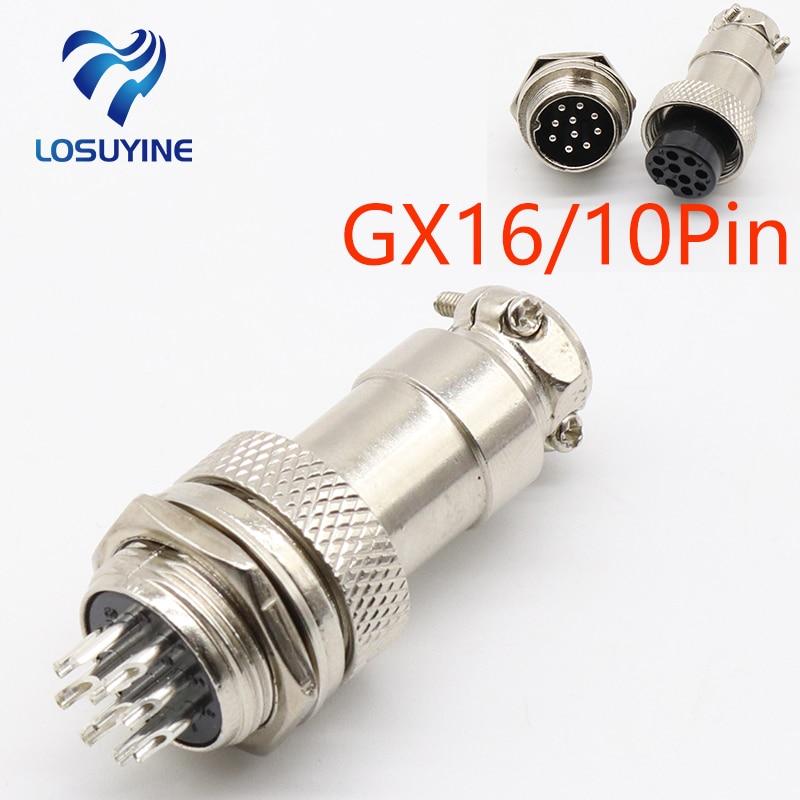 1set GX16 10 Pin Male & Female Diameter 16mm Wire Panel Connector L73 GX16 Circular Connector Aviation Socket Plug Free Shipping gx16 5 pin male