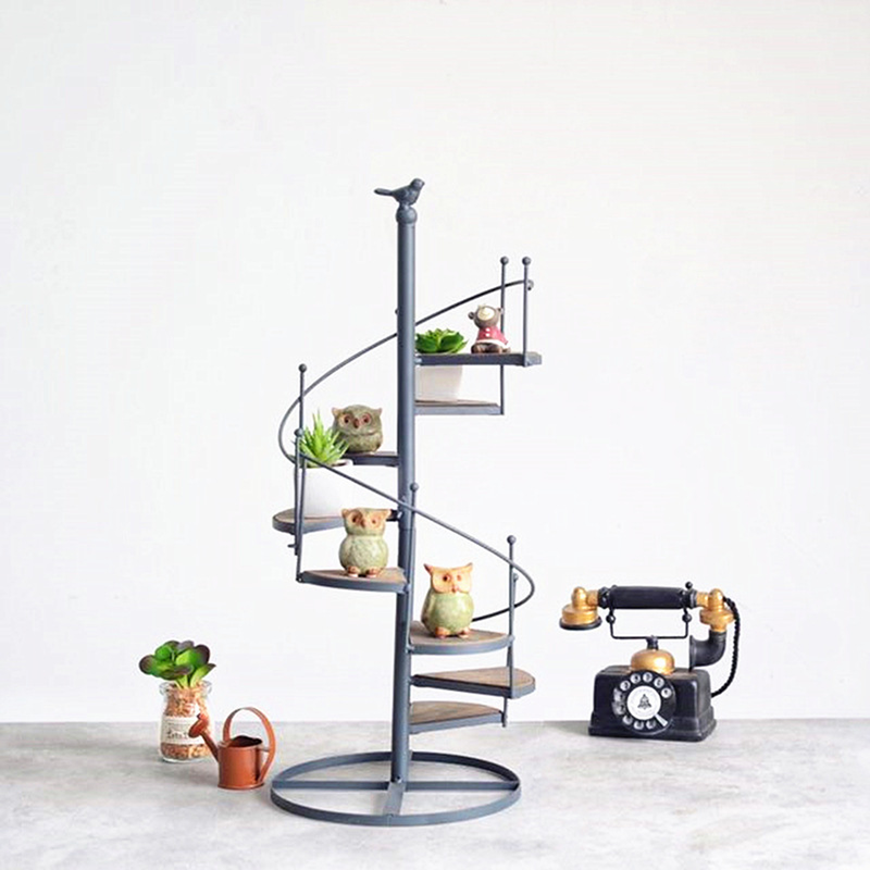 European wrought flower stand floor type rotating multi-layer ladder bird flower stand balcony flower pot shelf lo8131024 european style tieyi balcony floor type multi room pot holder green flower shelf simple pastoral special offer free shipping