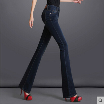 2017 autumn winter cotton plus size high waist speaker Flares jeans pants trousers women clothing clothes female ladies girls