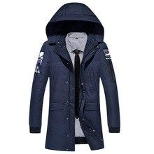 2018 nueva ropa chaquetas de negocios de largo grueso abrigo de invierno hombres sólidos Parka moda abrigo