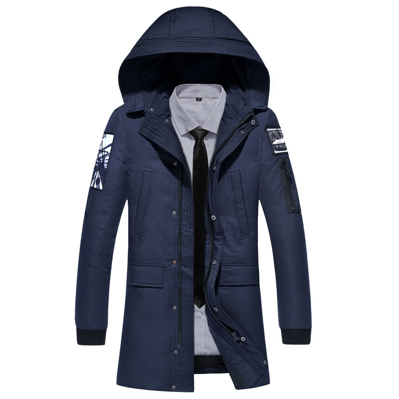 2018 New Clothing Jackets Business Long Thick Winter   Coat   Men Solid Parka Fashion Overcoat Outerwear
