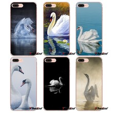 Swan White Transparent Clear TPU Soft Case For Samsung Galaxy S2 S3 S4 S5 MINI S6 S7 edge S8 Plus Note 2 3 4 5 Grand Core Prime(China)