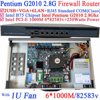 1U Barebone стойки маршрутизатор с Intel Pentium G2010 2.8 г 6*1000 м 82583 В LAN wayos pfsense ROS