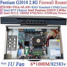 Barebone 1U стойку маршрутизатор с Intel Pentium G2010 2.8 Г 6*1000 М 82583 В Lan PFSense Wayos ROS