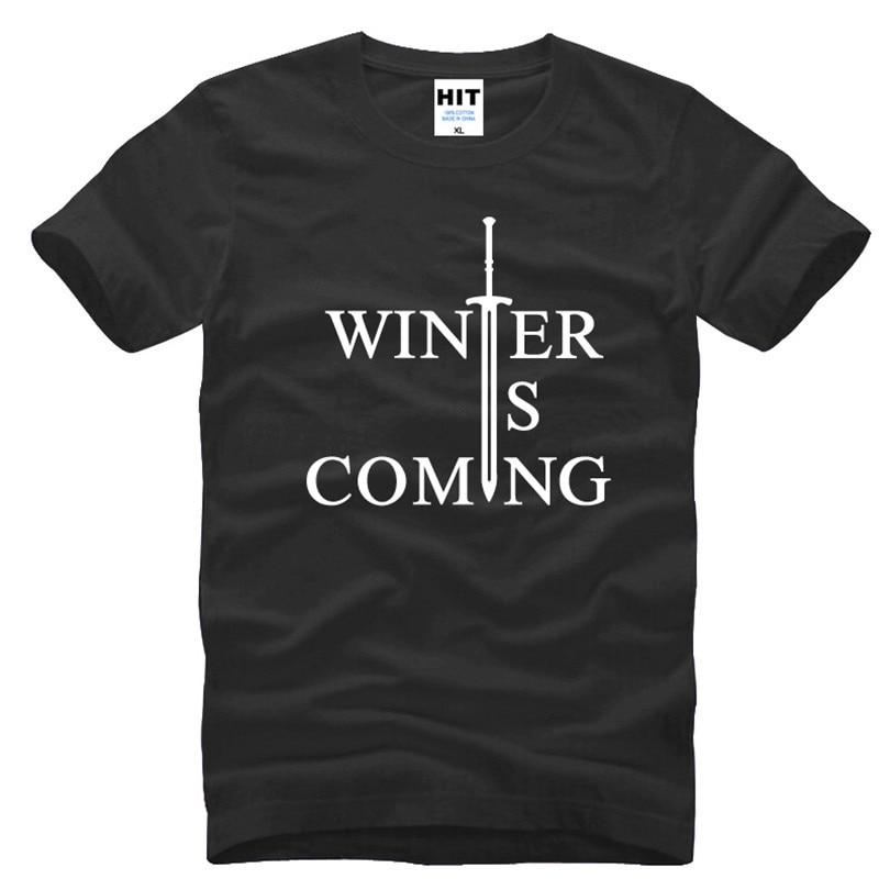 Mäng troonid talvel on tulemas kiri trükitud meeste t-särk t-särk meestele 2016 uus puuvillane Casual top Tee Camisetas Hombre