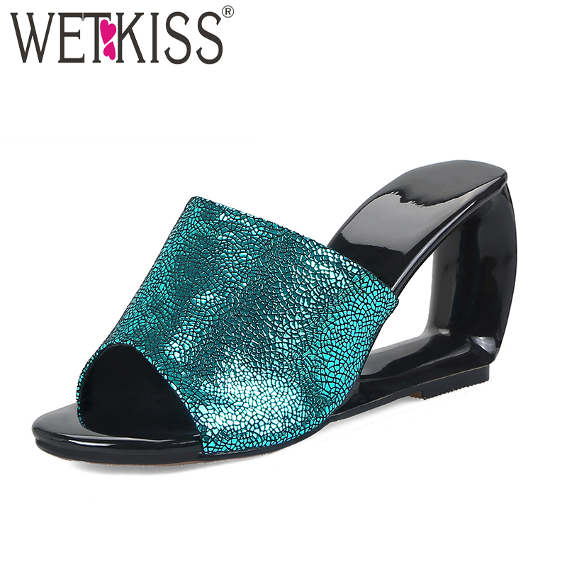 WETKISS Summer High Heels Women Slippers Open Toe Sheepskin Strange Style Slides Footwear 2019 New Fashion