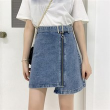 2019 Fashion Women Zipper Summer Skirt Solid Belt High Waist Mini Skirt Korean Irregular Cowboy Denim Skirt