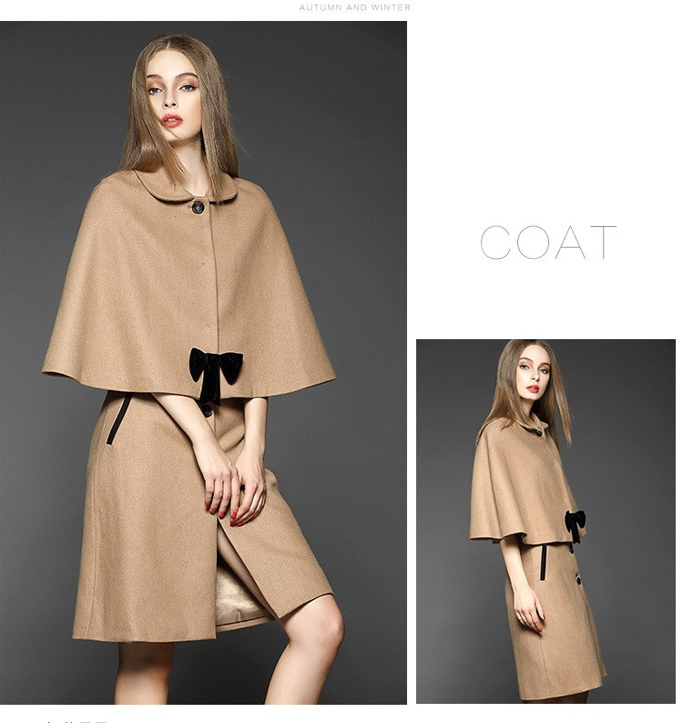 C Style Wool Cashmere Manteau Coat Skirt Suit with Bow Decoration Winter(4)
