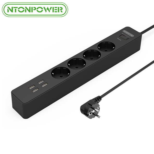 NTONPOWER NSC Smart EU Electrical Plug Socket Extension Lead 4 AC Outlets Power Strip with 4 Ports USB Charger Surge Protection