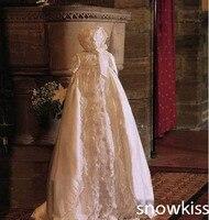 Очаровательный Крещение платье платья для малышек Одежда для новорожденных белый/слоновая кость индивидуальный заказ шелковый атлас Круж