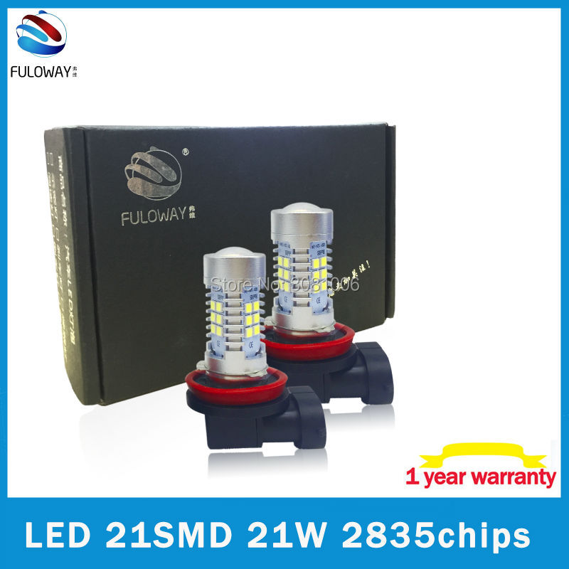 2pcs 21W 21SMD 2835 Chips LED H11/H8/H9 H16 H7 Daytime Running Light Sourcing Fog Lamps 6000K High Power Brake Light Car-Styling