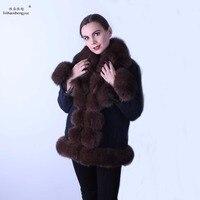 Linhaoshengyue women Jeans wear coat Real Rex rabbit fur linink fox fur collar fox fur Cuff linink cuff can remove