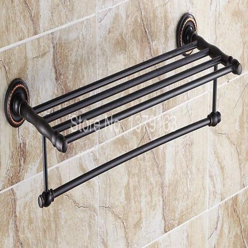 Black Oil Rubbed Bronze Wall Mounted Bathroom Large Towel Holder Towel bar Rack Rail Shelf aba210