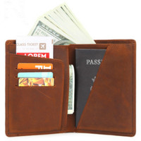f0a227978 Ultra Thin Simple Retro Passport Bag Mad Horse Skin Credit Cards Money Clip  Wallet Short Purse