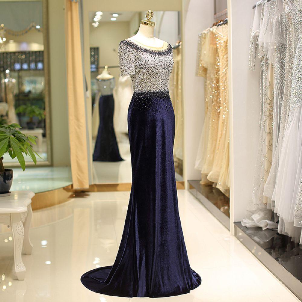 Beauté Emily nouveau formel femmes élégant 2018 bleu marine robes de soirée longues perles de luxe sirène dos nu robes de bal