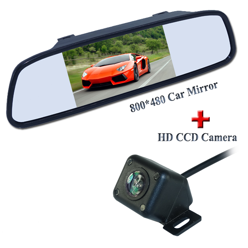 New 2 in 1, 5 TFT LCD Car Mirror Monitors Sunvisor+Rear View Camera Reverse Backup Parking Assistance+Hot Selling