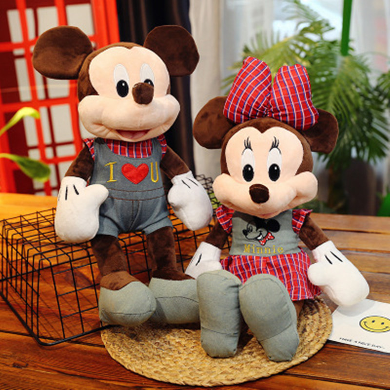 1pc 50cm New Super Kawaii Smilling Mickey Minnie With Red Green Plaid Shirt Plush Toy Soft Stuffed Doll Lovely Cute Child Gifts