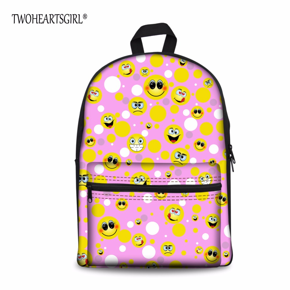 TWOHEARTSGIRL Cute Emoji Designer Teen Girl School Bag Student Canvas Bag Children Book Bags Female Schoolbag with Double Pocket
