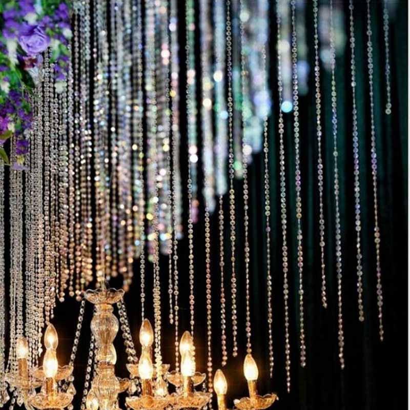 1M ClearGlass Crystal Bead Garland Chandelier Hanging DIY WeddingLight Supply YJ