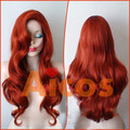 80cm Long Sexy Jessica Mermaid Copper Red  Body Wavy Women Party Cosplay  U Part  Wig