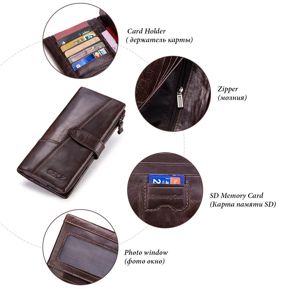 GZCZ Genuine Leather Wallet Men Luxury Brand Coin Purse Clamp For Money Vintage Man Handy Male Long Purse Walet Portomonee