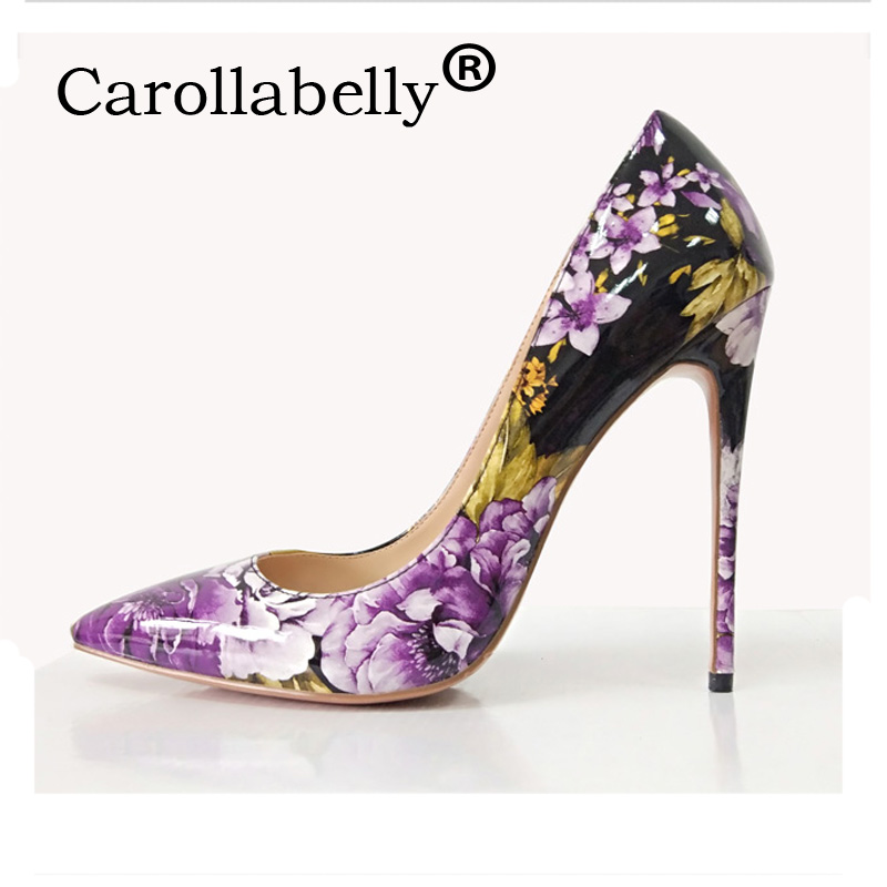 Carollabelly Shoes Woman High Heels Wedding Shoes Flower Women Pumps Pointed Toe Sexy High Heels Shoes Stilettos Party Shoes shoes woman high heels wedding shoes black red patent leather women pumps pointed toe sexy high heels shoes stilettos size 42