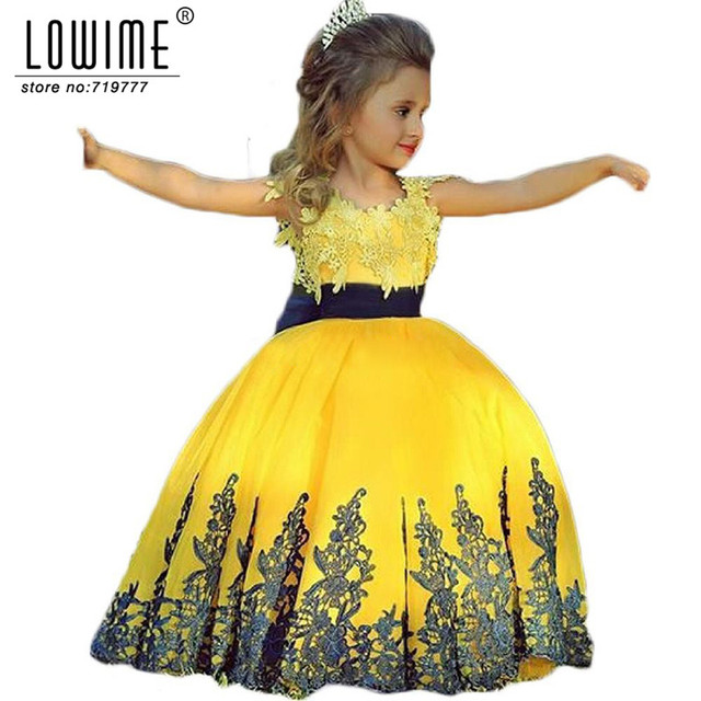 Ball gown beauty nice lace yellow and black flower girl dresses for ball gown beauty nice lace yellow and black flower girl dresses for wedding girls pageant dresses mightylinksfo