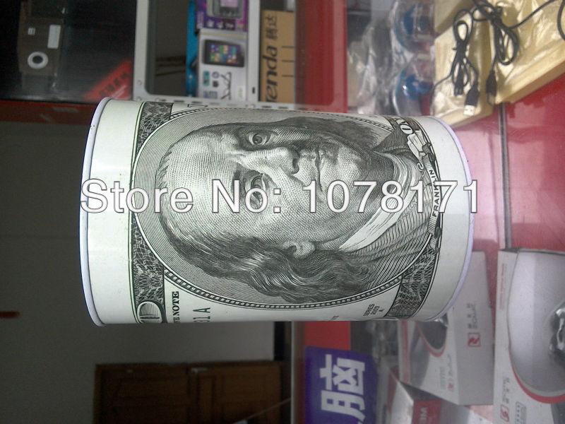 "Tin Money Savings Piggy Bank with Ben Franklin $100 Bill Money Coin Saver 4/"" New"