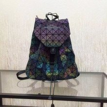 Biseafairy Luminous Backpack Diamond Lattice Bag Travel Geometric Women Fashion Bag Teenage Girl School Noctilucent Backpack