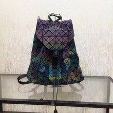 2016 Nueva geometría Bao bao mujeres nano Enrejado de Diamante del bolso de Mano Acolchado mochila sac bolsas mujeres de La serie camaleón