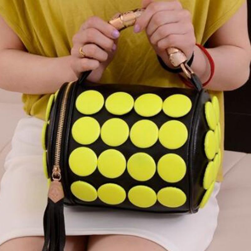 Women's Handbags Boston Bags Ladies Tassel Button Messenger Bags Leather Shoulder Bags Designer Bucket Bag Clutch Bolsas L8-367