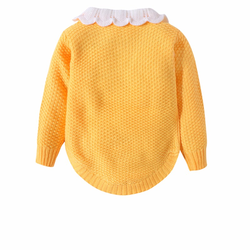 Cotton Girls Sweaters Solid Long Sleeve Clothes Knit Pullover Outerwear With Bows Warm Children Top Autumn Winter Kids Sweater (7)