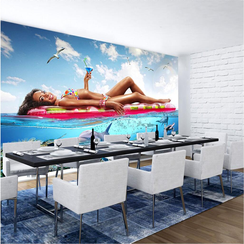 Custom Wall Mural Bikini Underwater World 3d Stereoscopic Wallpaper Bedroom Wall Mural for Living Room Restaurant Kitchen TV ivy large rock wall mural wall painting living room bedroom 3d wallpaper tv backdrop stereoscopic 3d wallpaper