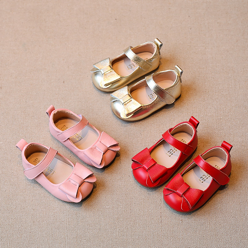 Upscale Genuine Leather Bow Girls Casual Shoes Dancing Shoes Princess Sandals Baby Shoes Children Party Shoes 1T-5T