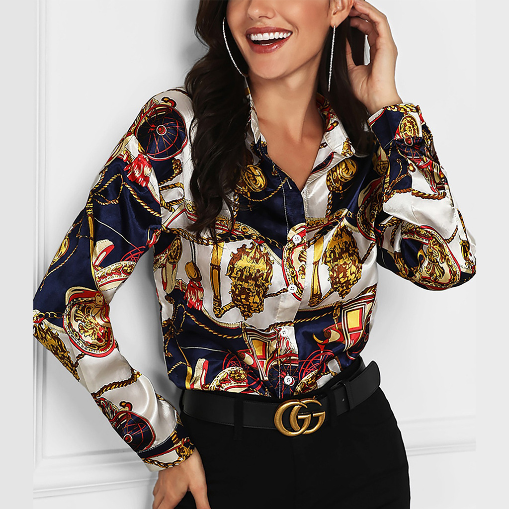 Women Shirt Chain Print Blouse Deep V Neck Long Sleeve Spring Autumn Pullover Tops Fashion OL Ladies Work Blouse Blusas Mujer