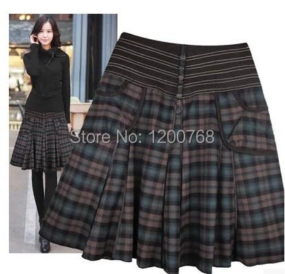 Women Skirts 2018 New Women Spring Autumn Winter Woolen Pleated Skirts Plus Size Women Plaid Printed