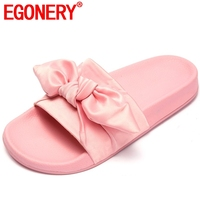 EGONERY new style woman slipper shoes low heel open toe pink black slides women home slipper bowties summer shoes plus size