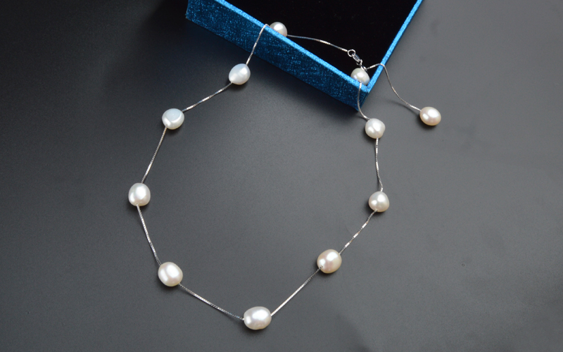 ASHIQI Pearl Dewdrop Necklace Natural Gray White Freshwater Baroque Pearl 8-9mm Real 925 Sterling Silver Springring Clasp Vintage Handmade Jewelry Gift